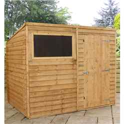 INSTALLED 8 x 6 Overlap Pent Shed With Single Door + 1 Window (Solid 10mm OSB Floor) - INCLUDES INSTALLATION