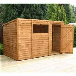 INSTALLED 10 x 6 Overlap Pent Shed With Single Door + 1 Window (10mm Solid OSB Floor) - INCLUDES INSTALLATION