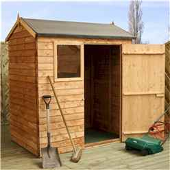 INSTALLED 4 x 6 Reverse Overlap Apex Shed With Single Door + 1 Window (10mm Solid OSB Floor) - INCLUDES INSTALLATION