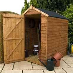 INSTALLED 6 x 4 Windowless Overlap Apex Shed With Single Door (10mm Solid OSB Floor) - INCLUDES INSTALLATION