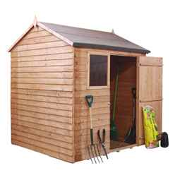 INSTALLED 6 x 6 Reverse Overlap Apex Shed With Single Door + 1 Window (10mm Solid OSB Floor) - INCLUDES INSTALLATION