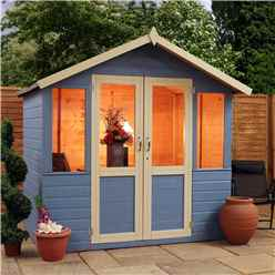 INSTALLED 7 x 5 Devon Summerhouse (1/2 Styrene Glazed Doors) - INCLUDES INSTALLATION
