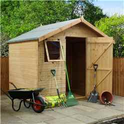 INSTALLED 6 x 8 Reverse  Premier Tongue and Groove Apex Shed With Single Door + 2 Windows (12mm Tongue and Groove Floor and Roof) - INCLUDES INSTALLATION
