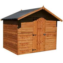 INSTALLED 6 x 8 Reverse Windowless  Premier Tongue an Groove Apex Shed (12mm Tongue and Groove Floor and Roof) - INCLUDES INSTALLATION