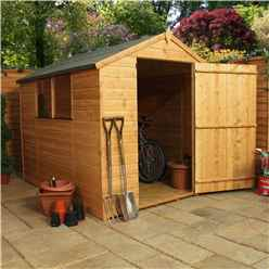 INSTALLED 8 x 6 Tongue and Groove Apex Shed With Large Door (Solid 10mm OSB Floor) - INCLUDES INSTALLATION