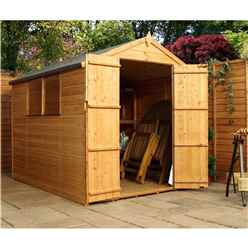 INSTALLED 8 x 6 Tongue and Groove Apex Shed With Double Doors + 2 Windows (Solid 10mm OSB Floor) - INCLUDES INSTALLATION
