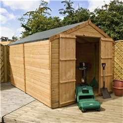INSTALLED 10 x 8 Windowless Tongue and Groove Apex Shed With Double Doors (10mm Solid Osb Floor) - INCLUDES INSTALLATION