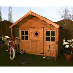 INSTALLED 6 x 6 Honey Wooden Playhouse With Single Door and Windows - INCLUDES INSTALLATION