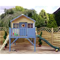INSTALLED 6 x 6 Honey Wooden Playhouse With Tower and Slide - INCLUDES INSTALLATION