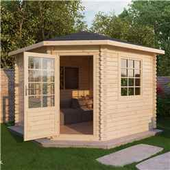 INSTALLED 3m x 3m Corner Log Cabin (Single Glazing) + Free Floor & Felt & Safety Glass (28mm) - INCLUDES INSTALLATION