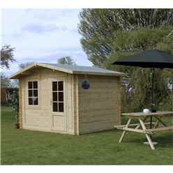 INSTALLED 3m x 2.4m Apex Log Cabin (Single Glazing) + Free Floor & Felt & Safety Glass (28mm) - INCLUDES INSTALLATION