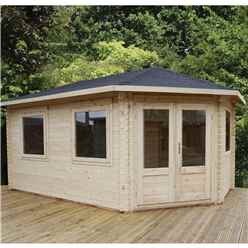 INSTALLED 5m x 3m Extended Corner Log Cabin (Single Glazing) + Free Floor & Felt & Safety Glass (28mm) - Right Door - INCLUDES INSTALLATION