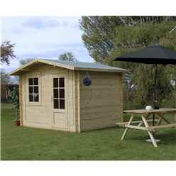 INSTALLED 3m x 2.4m Apex Log Cabin (Single Glazing) + Free Floor & Felt & Safety Glass (34mm) - INCLUDES INSTALLATION