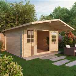 INSTALLED 4m x 4m Apex Log Cabin (Double Glazing) + Free Floor & Felt & Safety Glass (44mm) - INCLUDES INSTALLATION