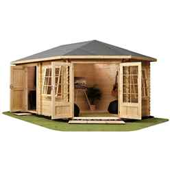 INSTALLED 5m x 3m Corner Log Cabin (Single Glazing) + Free Floor & Felt & Safety Glass (34mm) ***RIGHT - INCLUDES INSTALLATION