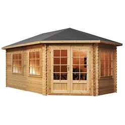 INSTALLED 5m x 3m Extended Corner Log Cabin (Double Glazing) + Free Floor & Felt & Safety Glass (44mm) - Right Door - INCLUDES INSTALLATION