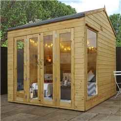 INSTALLED 8 x 8 Vermont Reverse Tongue and Groove Summerhouse (12mm Tongue and Groove Floor) INCLUDES INSTALLATION