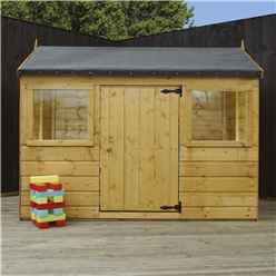 """INSTALLED 4' 5"""" x 6 Reverse Tongue and Groove Playhouse (10mm Solid OSB Floor & Roof) INCLUDES INSTALLATION"""