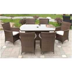 6 Seater - 7 Piece - Mocha Brown Rectangular Dining Set - Free Next Working Day Delivery (Mon-Fri)
