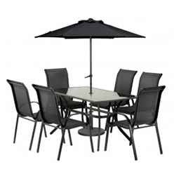 6 Seater Set - 8 Piece - Black Cayman with FREE Parasol - Free Next Working Day Delivery (Mon-Fri)
