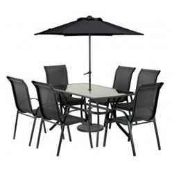 6 Seater Set - 8 Piece - Black Cayman Rounded Set with FREE Parasol - Free Next Working Day Delivery (Mon-Fri)