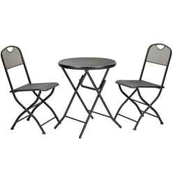 2 Seater Graphite Grey Folding Cafe Espresso Bistro Set - Free Next Working Day Delivery (Mon-Fri)