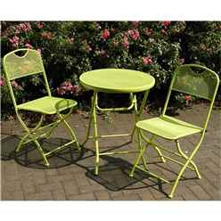 2 Seater Green Folding Cafe Espresso Bistro Set - Free Next Working Day Delivery (Mon-Fri)