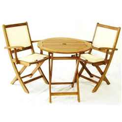 2 Seater - 3 Piece - York Bistro Set with Round Table and 2 Henley Lowback Folding Armchairs - Free Next Working Day Delivery (Mon-Fri)