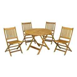 4 Seater - 5 Piece - Manhattan Dining Set with 4 Folding Chairs + Table - Free Next Working Day Delivery (Mon-Fri)