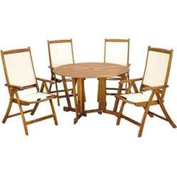 4 Seater - 5 Piece - Henley Gateleg Dining Set with 4 Henley Recliner Armchairs - Free Next Working Day Delivery (Mon-Fri)