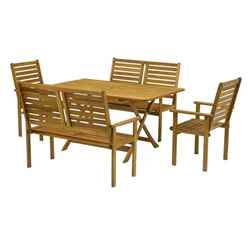 6 Seater - 5 Piece - Napoli Bench Dining Set with Napoli Table, 2 Benches and 2 Armchairs - Free Next Working Day Delivery (Mon-Fri)