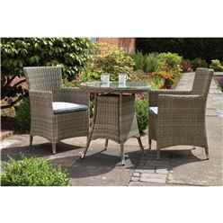 2 Seater - 3 Piece - Wentworth Bistro Set - 70cm Round Table with 2 Carver chairs Incl cushions - Free Next Working Day Delivery (Mon-Fri)