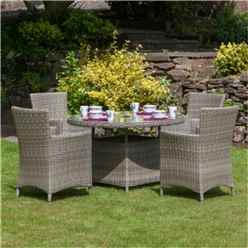 4 Seater - 5 Piece - Wentworth Round Carver Dining Set - 110cm Table with 4 Carver Chairs incl cushions - Free Next Working Day Delivery (Mon-Fri)