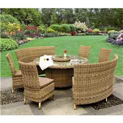 8 Seater - 8 Piece - Wentworth Fan Bench Set - 140cm Round Table with Lazy Susan and 4 Fan Benches incl. cushions - Free Next Working Day Delivery (Mon-Fri)