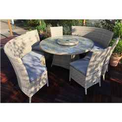 8 Seater - 8 Piece - Wentworth Fan Bench Set - 140cm Round Table with Lazy Susan with 4 x Side Dining Chairs and  2 x Fan Benches incl. cushions - Free Next Working Day Delivery (Mon-Fri)