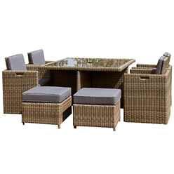 8 Seater - 9 Piece - Wentworth Cube Set - 125cm Square Table, 4 Chairs with Folding Backrest & 4 Footstools incl. cushions - Free Next Working Day Delivery (Mon-Fri)