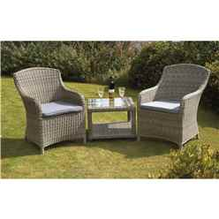 2 Seater - 3 Piece - Wentworth Imperial Companion Set - Side/Lamp Table 60 x 60 x 45cm with 2 Imperial Chairs incl. cushion - Free Next Working Day Delivery (Mon-Fri)