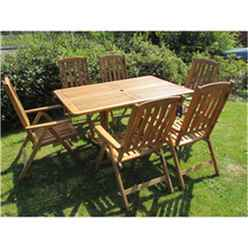 6 Seater - 7 Piece - Henley Rectangular Dining Set with 6 Manhattan Recliner Chairs - Free Next Working Day Delivery (Mon-Fri)