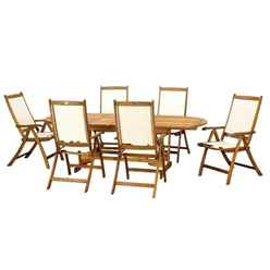 6 Seater - 7 Piece - HENLEY RECTANGULAR DINING SET WITH 6 HENLEY RECLINER CHAIRS - Free Next Working Day Delivery (Mon-Fri)