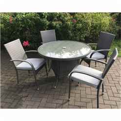 4 Seater - 5 Piece - MARLOW Bistro Set - 70cm Glass Top Table with 2 Stacking Chairs