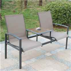 2 Seater - Taupe Companion Seat - Anthracite Frame & Textylene - Free Next Working Day Delivery (Mon-Fri)