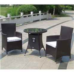 2 Seater - 3 Piece - Naples Bistro Set - 70cm Glass Top Table with 2 Carver Chairs incl. cushion - Free Next Working Day Delivery (Mon-Fri)