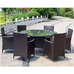 6 Seater - 7 Piece - Naples 6 Seater Round Dining Set - 140cm Round Glass Top Table with 4 Carver Chairs incl. cushion - Free Next Working Day Delivery (Mon-Fri)