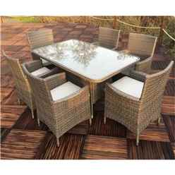6 Seater - 7 Piece - NAPLES 6 Seater Rectangular  Dining Set -  150 x 90cm Glass Top Table with 6 Carver Chairs incl. cushions - Free Next Working Day Delivery (Mon-Fri)
