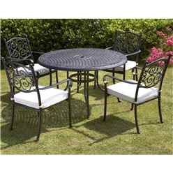 4 Seater - 5 Piece -Versailles 124cm Round Table with 4 Stacking Chairs incl. cushion - Free Next Working Day Delivery (Mon-Fri)
