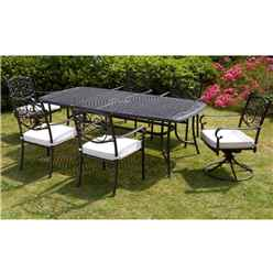 6 Seater - 7 Piece -Versailles Rectangular Swivel Set - 214 x 108cm Rectangular Table with 2 Swivel Chairs and 4 Stacking Chairs incl. cushions - Free Next Working Day Delivery (Mon-Fri)