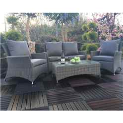 4 Seater - 4 Piece set - PARIS DELUXE LOUNGE SET : 2 seater Sofa with Coffee Table & 2 x Lounging ArmChairs - Free Next Working Day Delivery (Mon-Fri) - New