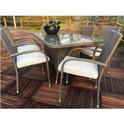 6 Seater - 7 Piece - Marlow Rectangular Dining set - 150 x 90cm Glass Top Table with 6 Stacking Chairs incl. Cushions