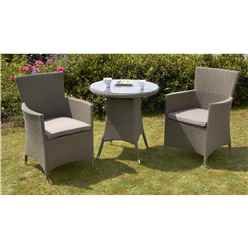 2 Seater - 3 Piece - MARLOW Bistro Set - 70cm Glass Top Table with 2 Carver Chairs incl. cushion