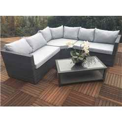 6 Seater - 4 Piece - MARLOW Triangle Corner Lounging Set Alum. - 1 pc RH Sofa , 1 pc LH Sofa , 1 pc large Triangular Corner Seat and Coffee table with Shelf